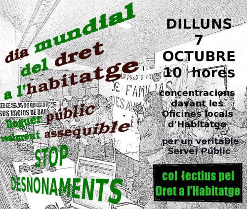 7 octubre dia mundial de l habitat concentra t a la for Oficina del habitatge