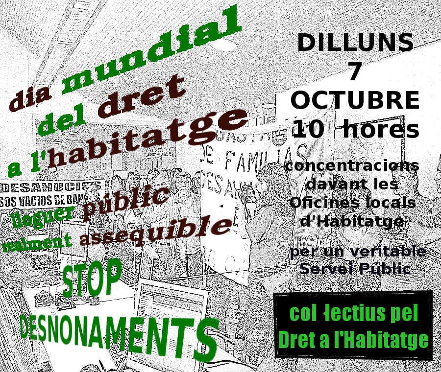 7 octubre dia mundial de l habitat concentra t a la for Oficina habitatge barcelona